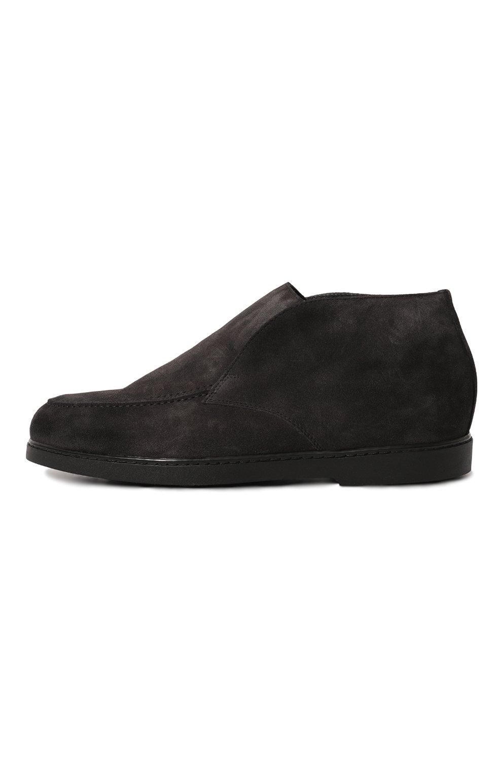 Мужские замшевые ботинки DOUCAL'S темно-серого цвета, арт. DU2654ED0-UM024NN05 | Фото 4 (Материал утеплителя: Натуральный мех; Мужское Кросс-КТ: Ботинки-обувь, зимние ботинки; Подошва: Плоская; Материал внешний: Замша)