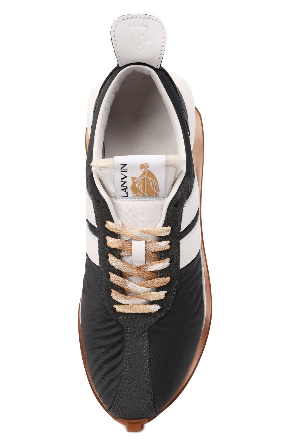 Мужские комбинированные кроссовки bumpr LANVIN темно-серого цвета, арт. FM-SKBRUN-NYL0-A21   Фото 5 (Материал внешний: Текстиль; Материал внутренний: Натуральная кожа, Текстиль; Стили: Гранж; Подошва: Массивная)