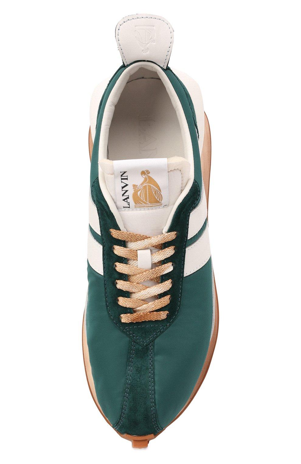 Мужские комбинированные кроссовки bumpr LANVIN зеленого цвета, арт. FM-SKBRUN-NYL0-A21   Фото 5 (Материал внешний: Текстиль; Материал внутренний: Натуральная кожа, Текстиль; Стили: Гранж; Подошва: Массивная)