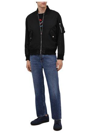Мужские текстильные кеды dbb1 LANVIN темно-синего цвета, арт. FM-SKDBB1-FELT-A21 | Фото 2 (Материал внутренний: Натуральная кожа; Подошва: Массивная; Материал внешний: Текстиль)