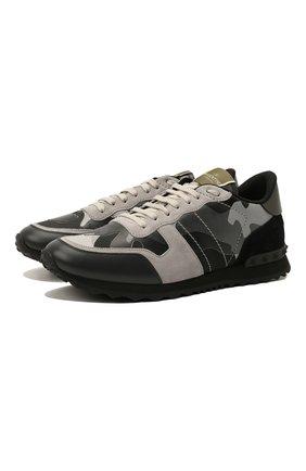 Мужские комбинированные кроссовки rockrunner VALENTINO серого цвета, арт. WY2S0723/XVU | Фото 1