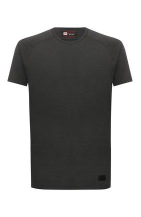 Мужская шерстяная футболка Z ZEGNA хаки цвета, арт. VY390/ZZT678 | Фото 1 (Материал внешний: Шерсть; Рукава: Короткие; Принт: Без принта; Стили: Кэжуэл; Длина (для топов): Стандартные)