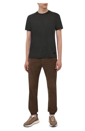 Мужская шерстяная футболка Z ZEGNA хаки цвета, арт. VY390/ZZT678 | Фото 2 (Материал внешний: Шерсть; Рукава: Короткие; Принт: Без принта; Стили: Кэжуэл; Длина (для топов): Стандартные)