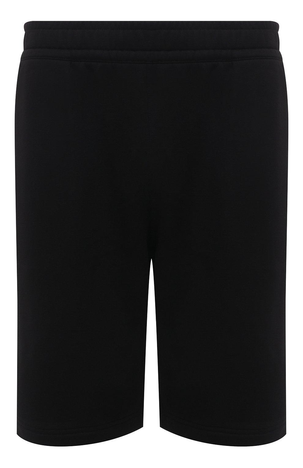 Мужские хлопковые шорты BURBERRY черного цвета, арт. 8043279 | Фото 1 (Длина Шорты М: Ниже колена; Принт: С принтом; Кросс-КТ: Трикотаж; Материал внешний: Хлопок; Стили: Спорт-шик)