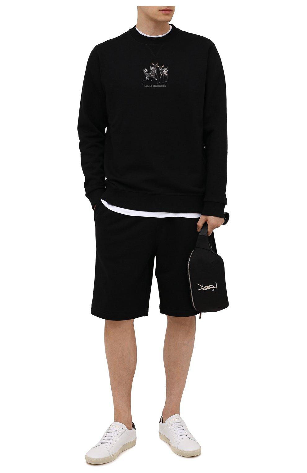 Мужские хлопковые шорты BURBERRY черного цвета, арт. 8043279 | Фото 2 (Длина Шорты М: Ниже колена; Принт: С принтом; Кросс-КТ: Трикотаж; Материал внешний: Хлопок; Стили: Спорт-шик)