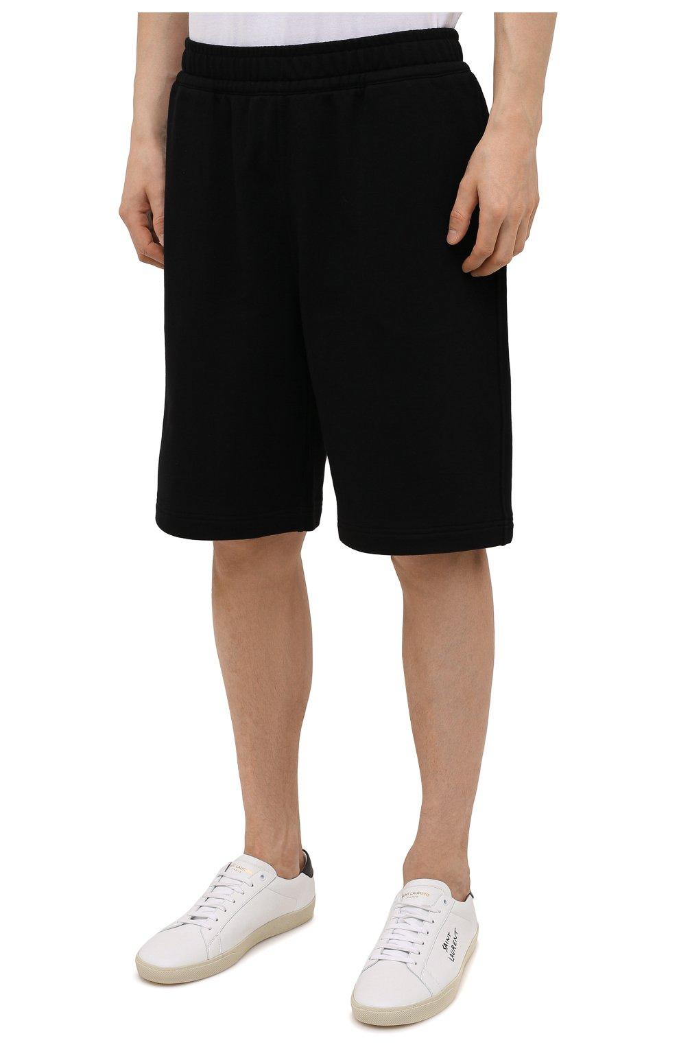 Мужские хлопковые шорты BURBERRY черного цвета, арт. 8043279 | Фото 3 (Длина Шорты М: Ниже колена; Принт: С принтом; Кросс-КТ: Трикотаж; Материал внешний: Хлопок; Стили: Спорт-шик)