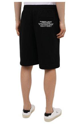 Мужские хлопковые шорты BURBERRY черного цвета, арт. 8043279 | Фото 4 (Длина Шорты М: Ниже колена; Принт: С принтом; Кросс-КТ: Трикотаж; Материал внешний: Хлопок; Стили: Спорт-шик)