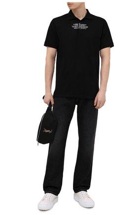 Мужское хлопковое поло BURBERRY черного цвета, арт. 8042750 | Фото 2