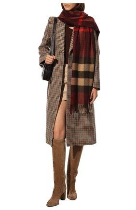 Мужской кашемировый шарф BURBERRY бордового цвета, арт. 8021693 | Фото 2