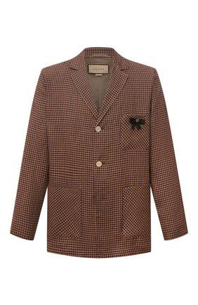 Мужской льняной пиджак GUCCI коричневого цвета, арт. 659844/ZAG0U | Фото 1