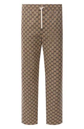 Мужские хлопковые брюки GUCCI коричневого цвета, арт. 658090/Z8A0V | Фото 1