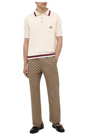 Мужские хлопковые брюки GUCCI коричневого цвета, арт. 658090/Z8A0V | Фото 2
