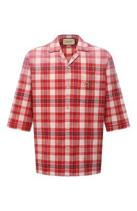 Мужская хлопковая рубашка GUCCI красного цвета, арт. 653446/ZAG00 | Фото 1