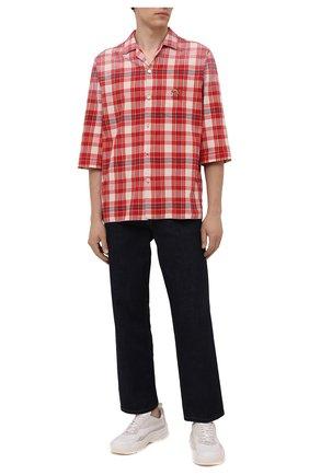 Мужская хлопковая рубашка GUCCI красного цвета, арт. 653446/ZAG00 | Фото 2