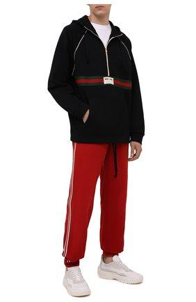 Мужские хлопковые джоггеры GUCCI красного цвета, арт. 653392/ZAGP0 | Фото 2