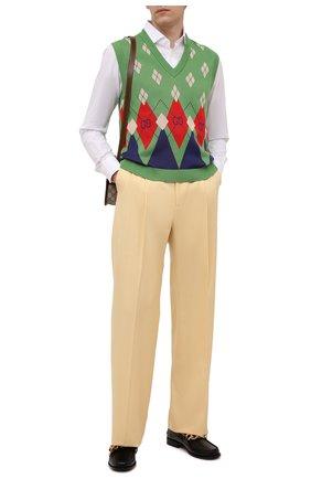 Мужские брюки из хлопка и вискозы GUCCI бежевого цвета, арт. 651686/ZAGP3 | Фото 2