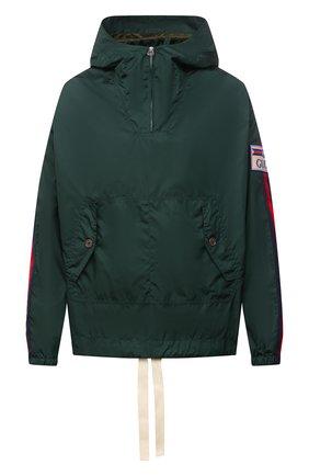 Мужская анорак GUCCI зеленого цвета, арт. 654827/ZAGVU | Фото 1 (Материал внешний: Синтетический материал; Длина (верхняя одежда): Короткие; Кросс-КТ: Ветровка, Куртка; Стили: Спорт-шик; Материал подклада: Синтетический материал; Рукава: Длинные)