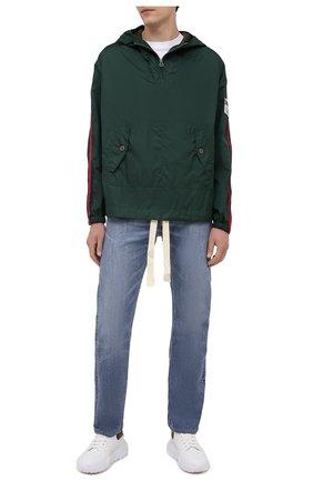 Мужская анорак GUCCI зеленого цвета, арт. 654827/ZAGVU | Фото 2 (Материал внешний: Синтетический материал; Длина (верхняя одежда): Короткие; Кросс-КТ: Ветровка, Куртка; Стили: Спорт-шик; Материал подклада: Синтетический материал; Рукава: Длинные)