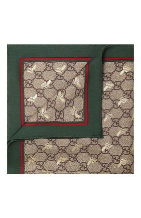 Мужской шелковый платок GUCCI зеленого цвета, арт. 663710/4G001   Фото 1