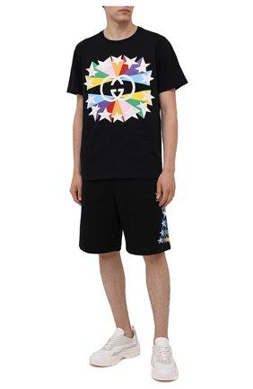 Мужские хлопковые шорты GUCCI черного цвета, арт. 663249/XJDNK | Фото 2