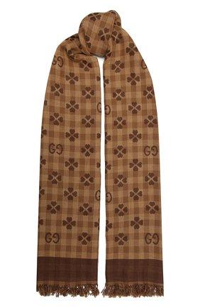 Мужской хлопковый шарф GUCCI коричневого цвета, арт. 662446/4G114 | Фото 1