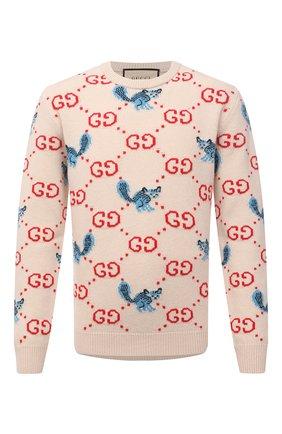 Мужской шерстяной свитер gucci x freya hartas GUCCI кремвого цвета, арт. 661836/XKBXX | Фото 1