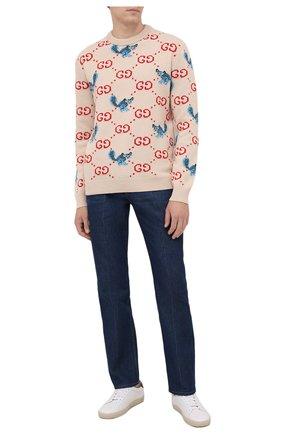 Мужской шерстяной свитер gucci x freya hartas GUCCI кремвого цвета, арт. 661836/XKBXX | Фото 2