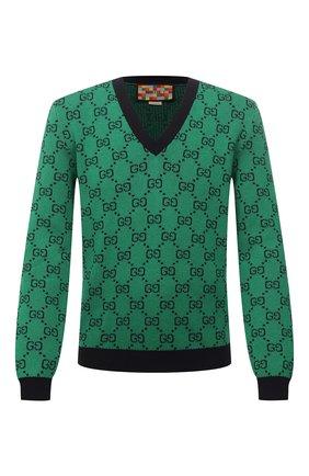 Мужской свитер из шерсти и хлопка GUCCI зеленого цвета, арт. 661155/XKBXI | Фото 1 (Материал внешний: Шерсть, Хлопок; Длина (для топов): Стандартные; Рукава: Длинные; Мужское Кросс-КТ: Свитер-одежда; Принт: С принтом; Стили: Ретро)