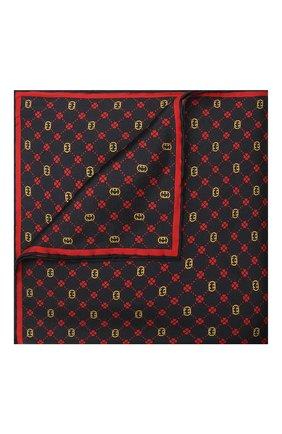 Мужской шелковый платок GUCCI темно-синего цвета, арт. 660425/4G001 | Фото 1 (Материал: Текстиль, Шелк)
