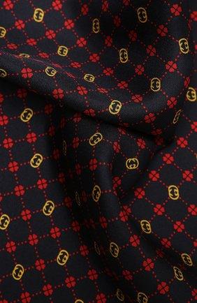Мужской шелковый платок GUCCI темно-синего цвета, арт. 660425/4G001 | Фото 2 (Материал: Текстиль, Шелк)
