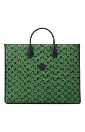 Мужская текстильная сумка-тоут gg multicolor GUCCI зеленого цвета, арт. 659980/2UZAN | Фото 1
