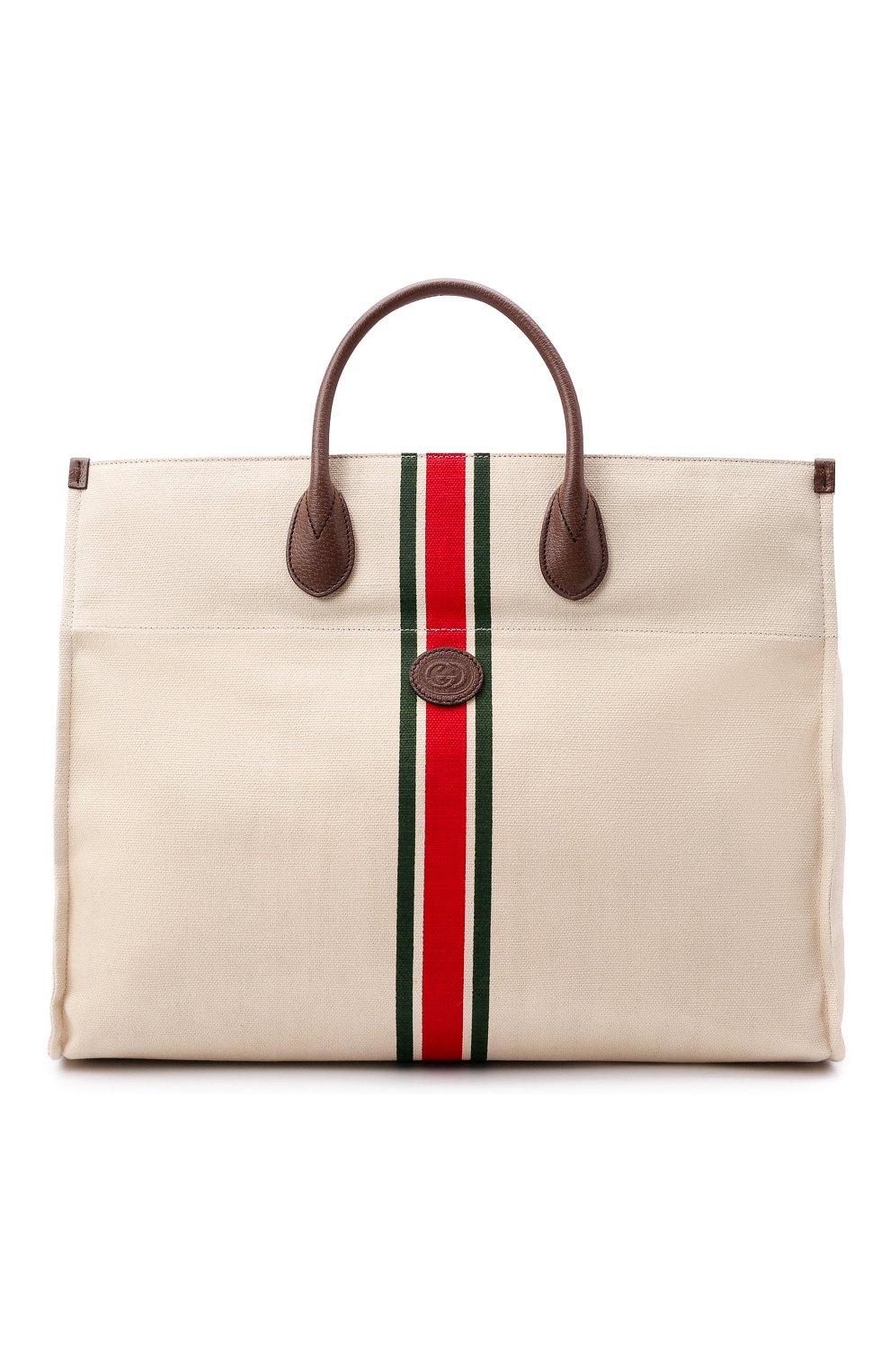 Мужская текстильная сумка-тоут GUCCI светло-бежевого цвета, арт. 658876/2U2AG   Фото 1