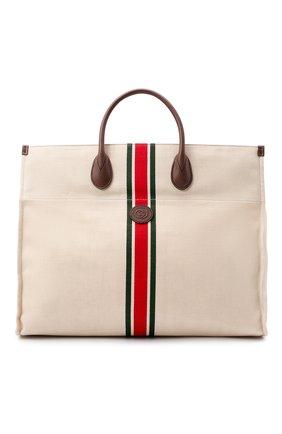 Мужская текстильная сумка-тоут GUCCI светло-бежевого цвета, арт. 658876/2U2AG | Фото 1