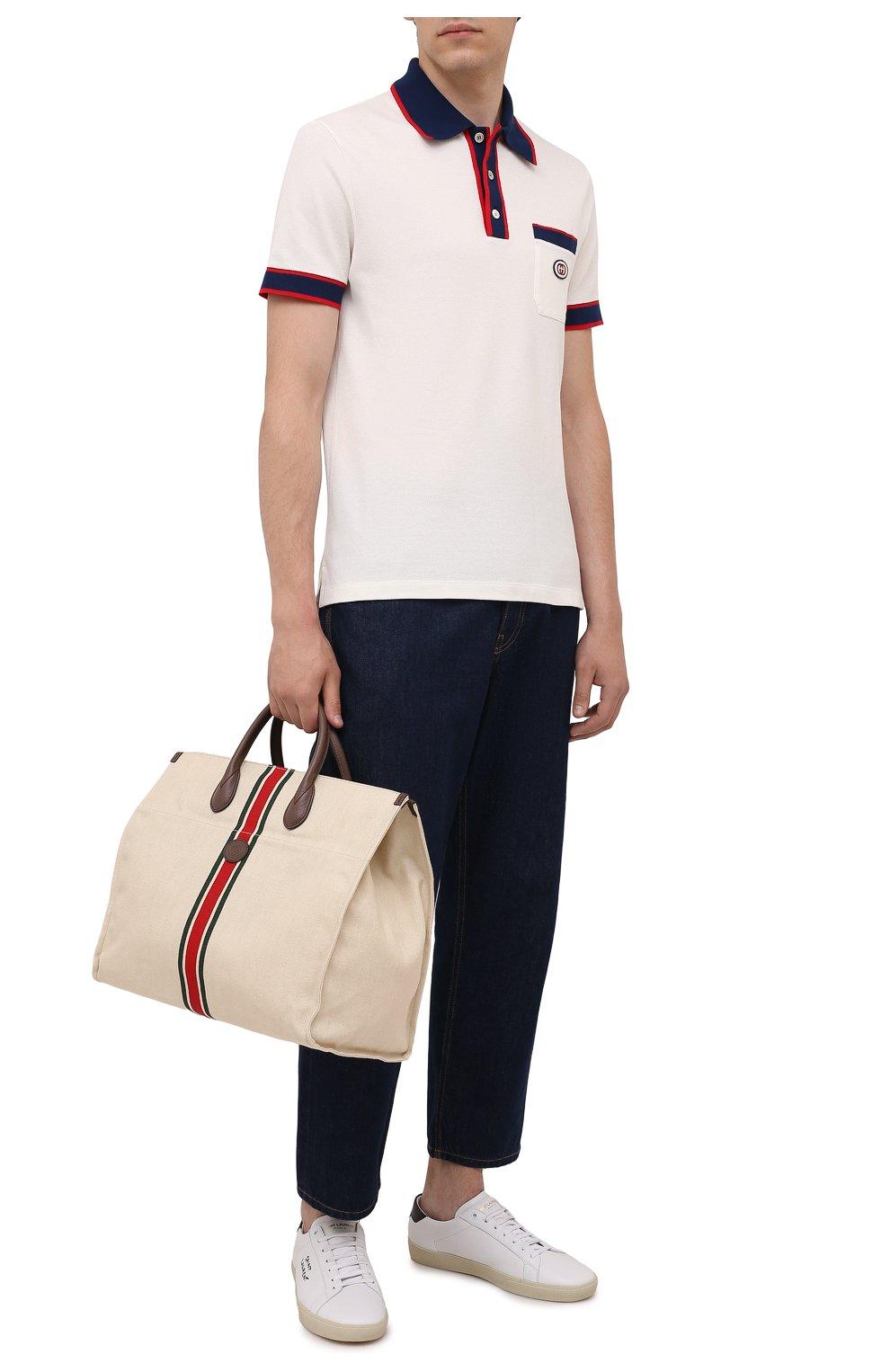 Мужская текстильная сумка-тоут GUCCI светло-бежевого цвета, арт. 658876/2U2AG   Фото 2