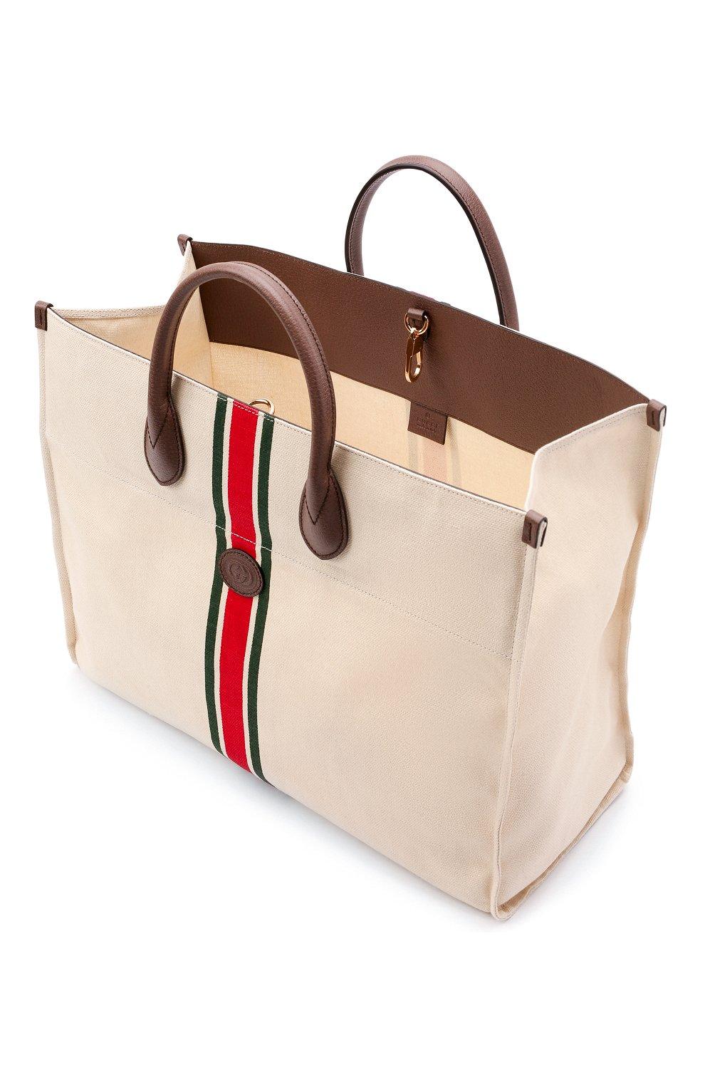 Мужская текстильная сумка-тоут GUCCI светло-бежевого цвета, арт. 658876/2U2AG   Фото 4