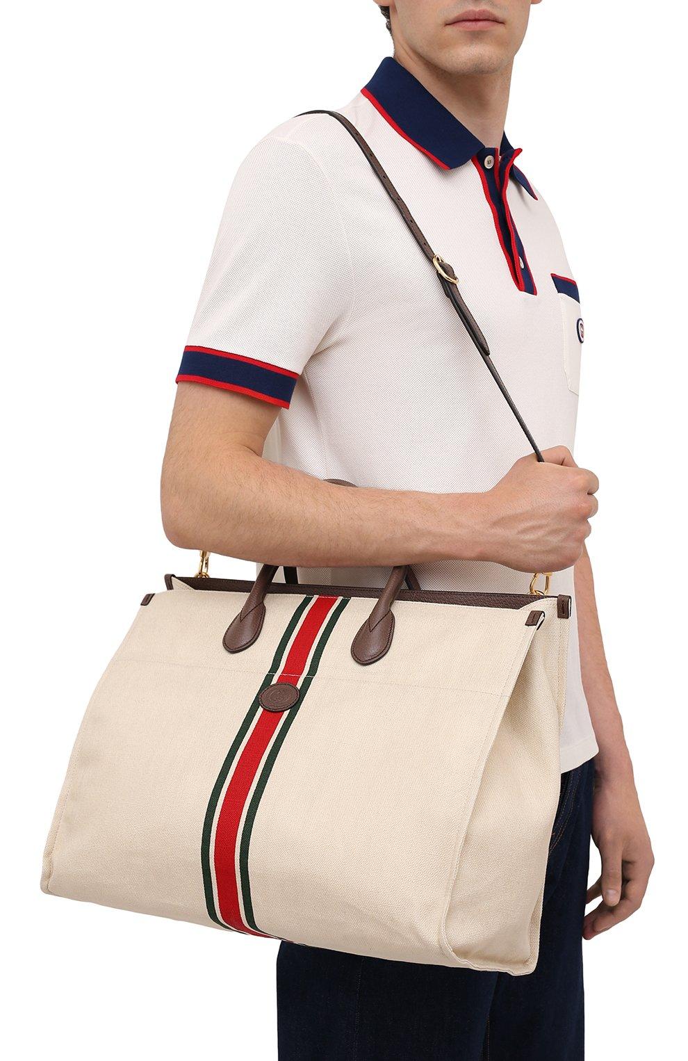 Мужская текстильная сумка-тоут GUCCI светло-бежевого цвета, арт. 658876/2U2AG   Фото 5