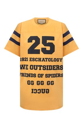 Мужская хлопковая футболка GUCCI желтого цвета, арт. 655459/XJDHI | Фото 1