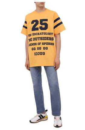 Мужская хлопковая футболка GUCCI желтого цвета, арт. 655459/XJDHI | Фото 2