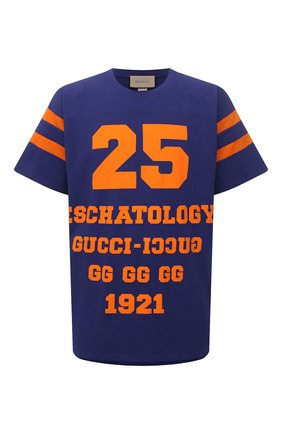 Мужская хлопковая футболка GUCCI синего цвета, арт. 655459/XJDHG | Фото 1
