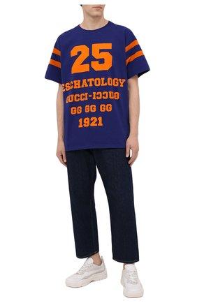 Мужская хлопковая футболка GUCCI синего цвета, арт. 655459/XJDHG | Фото 2