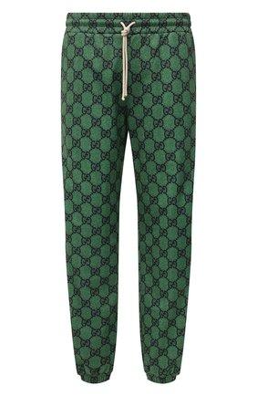 Мужские джоггеры GUCCI зеленого цвета, арт. 655146/XJDF0 | Фото 1 (Материал внешний: Синтетический материал, Хлопок; Длина (брюки, джинсы): Стандартные; Силуэт М (брюки): Джоггеры; Материал подклада: Синтетический материал; Стили: Ретро)