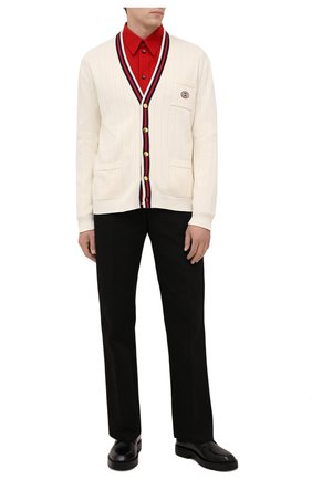 Мужской хлопковый кардиган GUCCI кремвого цвета, арт. 654984/XKBUR | Фото 2