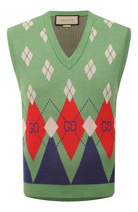 Мужской хлопковый жилет GUCCI зеленого цвета, арт. 653841/XKBUQ | Фото 1 (Материал внешний: Хлопок; Длина (верхняя одежда): Короткие; Стили: Ретро; Мужское Кросс-КТ: Жилет-одежда)