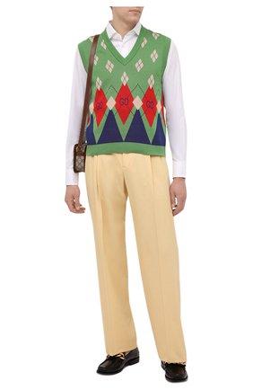 Мужской хлопковый жилет GUCCI зеленого цвета, арт. 653841/XKBUQ | Фото 2 (Материал внешний: Хлопок; Длина (верхняя одежда): Короткие; Стили: Ретро; Мужское Кросс-КТ: Жилет-одежда)