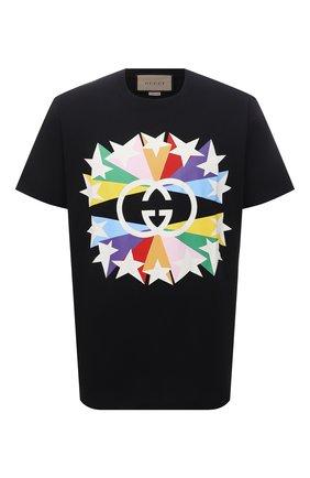 Мужская хлопковая футболка GUCCI черного цвета, арт. 548334/XJDNH | Фото 1 (Материал внешний: Хлопок; Длина (для топов): Стандартные; Рукава: Короткие; Стили: Гранж; Принт: С принтом)