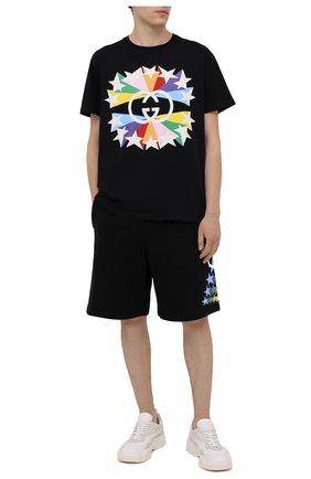 Мужская хлопковая футболка GUCCI черного цвета, арт. 548334/XJDNH | Фото 2 (Материал внешний: Хлопок; Длина (для топов): Стандартные; Рукава: Короткие; Стили: Гранж; Принт: С принтом)