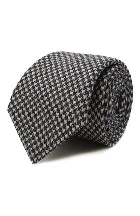 Мужской шерстяной галстук BRUNELLO CUCINELLI темно-синего цвета, арт. MM8800018 | Фото 1 (Материал: Шерсть; Принт: С принтом)