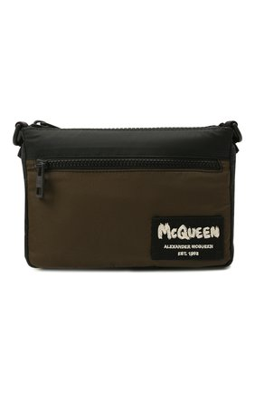 Мужская текстильная сумка ALEXANDER MCQUEEN хаки цвета, арт. 663144/1AAB5 | Фото 1 (Ремень/цепочка: На ремешке; Материал: Текстиль)