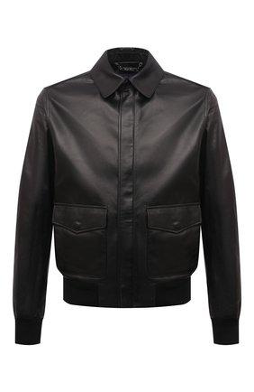 Мужской кожаный бомбер RALPH LAUREN черного цвета, арт. 790841400 | Фото 1