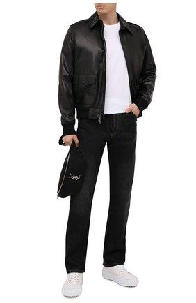Мужской кожаный бомбер RALPH LAUREN черного цвета, арт. 790841400 | Фото 2